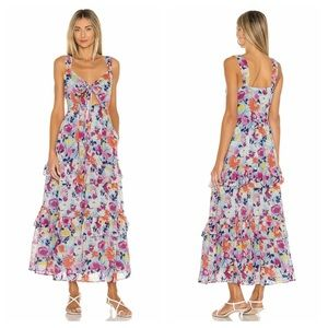 BANJANAN Serafina blue floral tiered ruffle dress